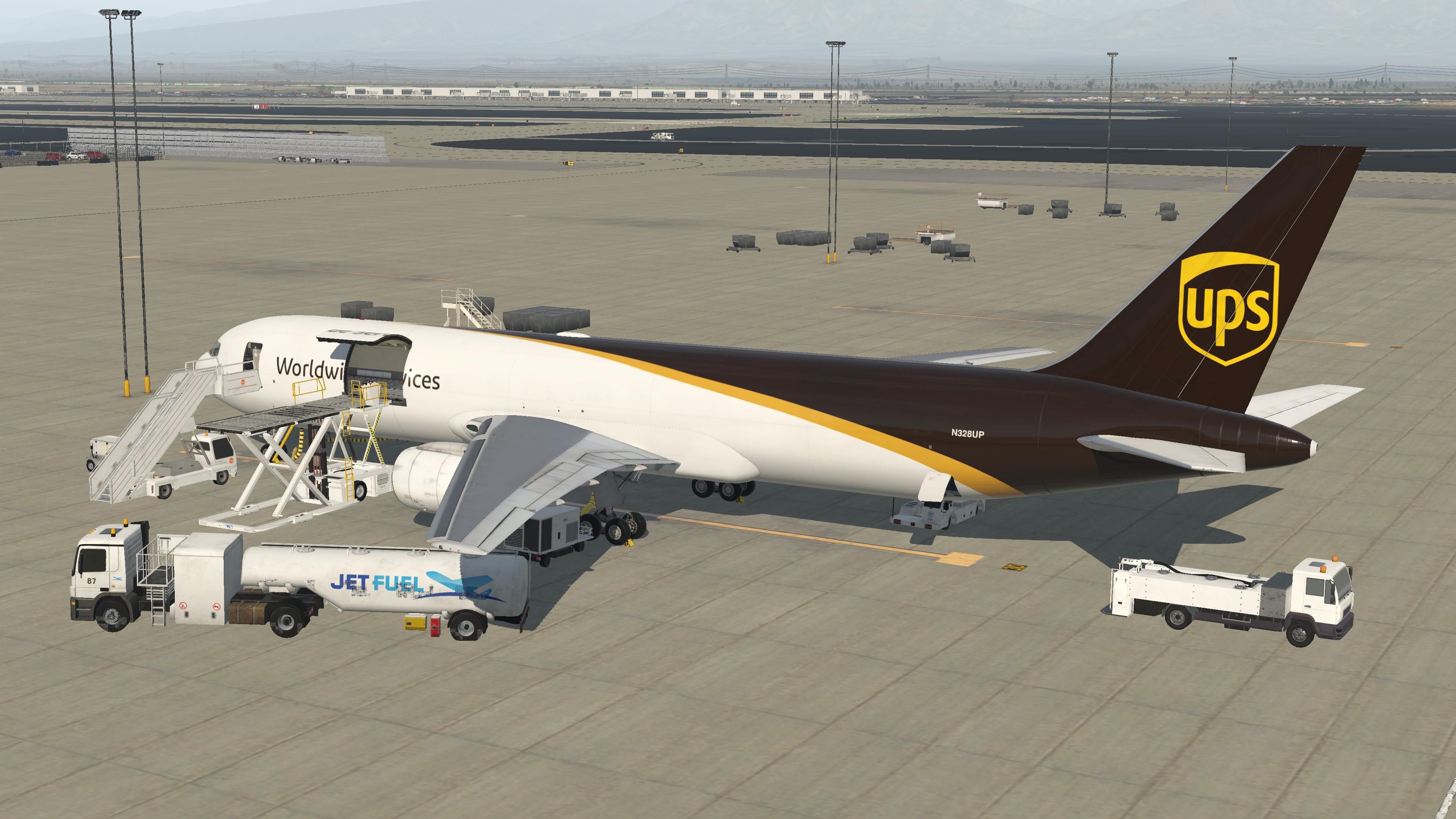 [N328UP] Cargo Loading at KONT
